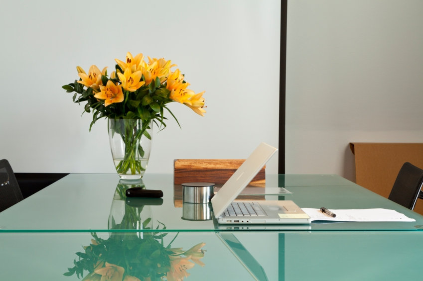 corporate flowers in an office